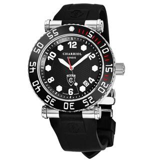 Charriol Men's RT42DIVB.142.D01 'Rotonde' Black Dial Black Rubber Strap GMT Swiss Quartz Watch