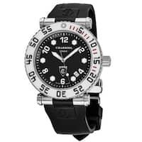Charriol Men's RT42DIVW.142.D01 'Rotonde' Black Dial Black Rubber Strap GMT Swiss Quartz Watch