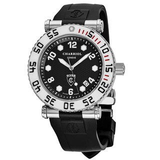 Charriol Men's RT42DIVW.142.D01 'Rotonde' Black Dial Black Rubber Strap GMT Swiss Quartz Watch