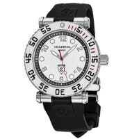 Charriol Men's RT42DIVW;142;D02 'Rotonde' Silver Dial Black Rubber Strap GMT Swiss Quartz Watch