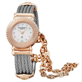 Charriol Women's 028IP.540.326 'St Tropez Art Deco' Mother of Pearl Diamond Dial Stainless Steel/Goldtone Swiss Quartz Watch
