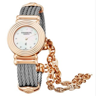Charriol Women's 028LP.540.326 'St Tropez Art Deco' Mother of Pearl Diamond Dial Stainless Steel/Goldtone Swiss Quartz Watch