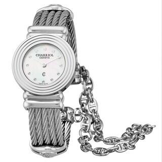 Charriol Women's 028LS.540.326 'St Tropez Art Deco' Mother of Pearl Diamond Dial Stainless Steel Swiss Quartz Watch