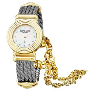 Charriol Women's 028LY.540.326 'St Tropez Art Deco' Mother of Pearl Diamond Dial Stainless Steel/ Y Goldtone Swiss Quartz Watch