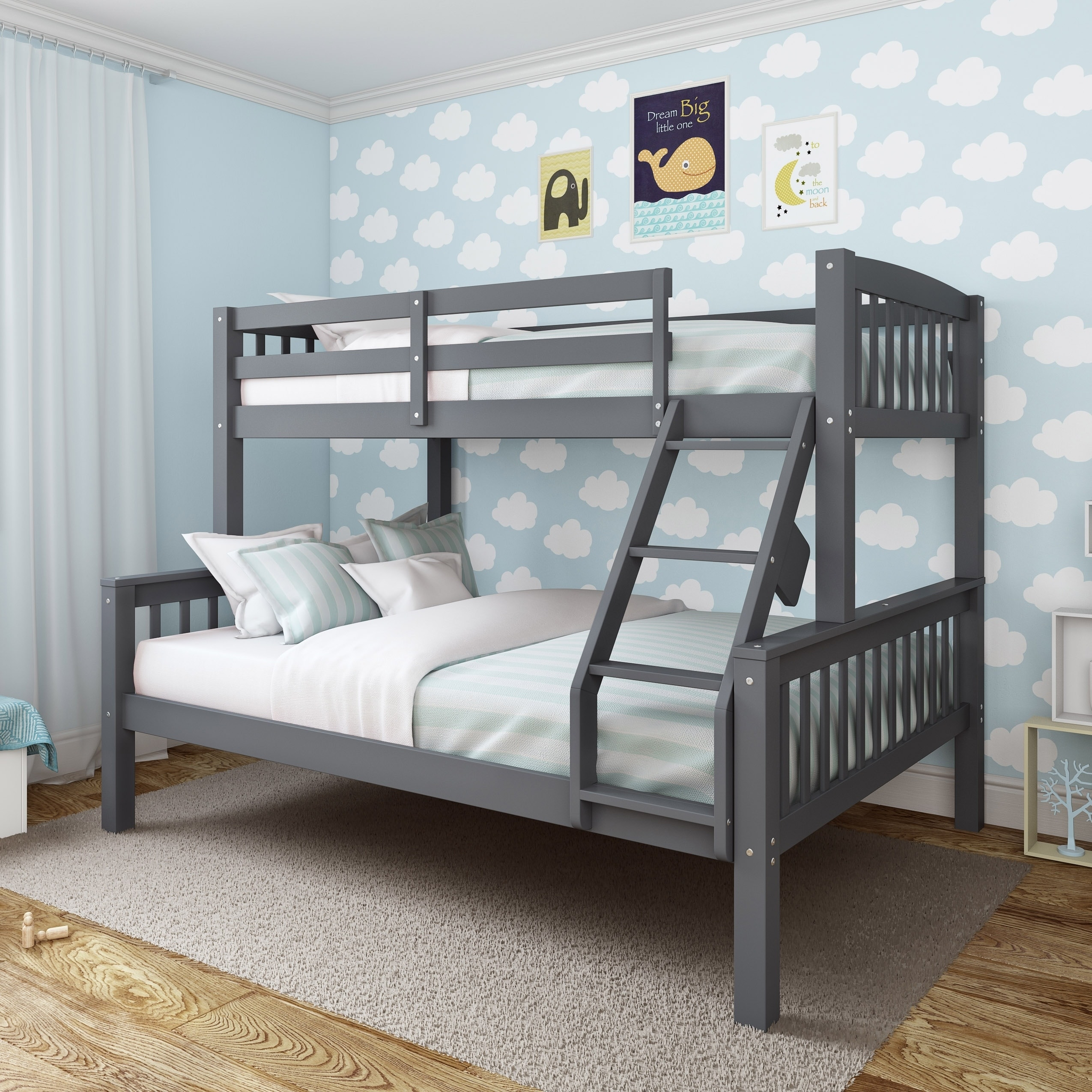 Picture of: Taylor Olive Christian Twin Single Over Full Double Bunk Bed Overstock 19876150