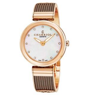 Charriol Women's FE32.602.005 'Forever' Mother of Pearl Diamond Dial Bronze Stainless Steel Swiss Quartz Watch