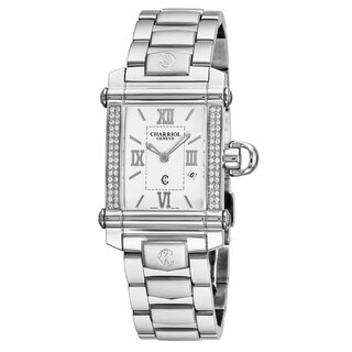Charriol Women's CCSTRHD920830 'Columbus' White Dial Stainless Steel Diamond Swiss Quartz Watch