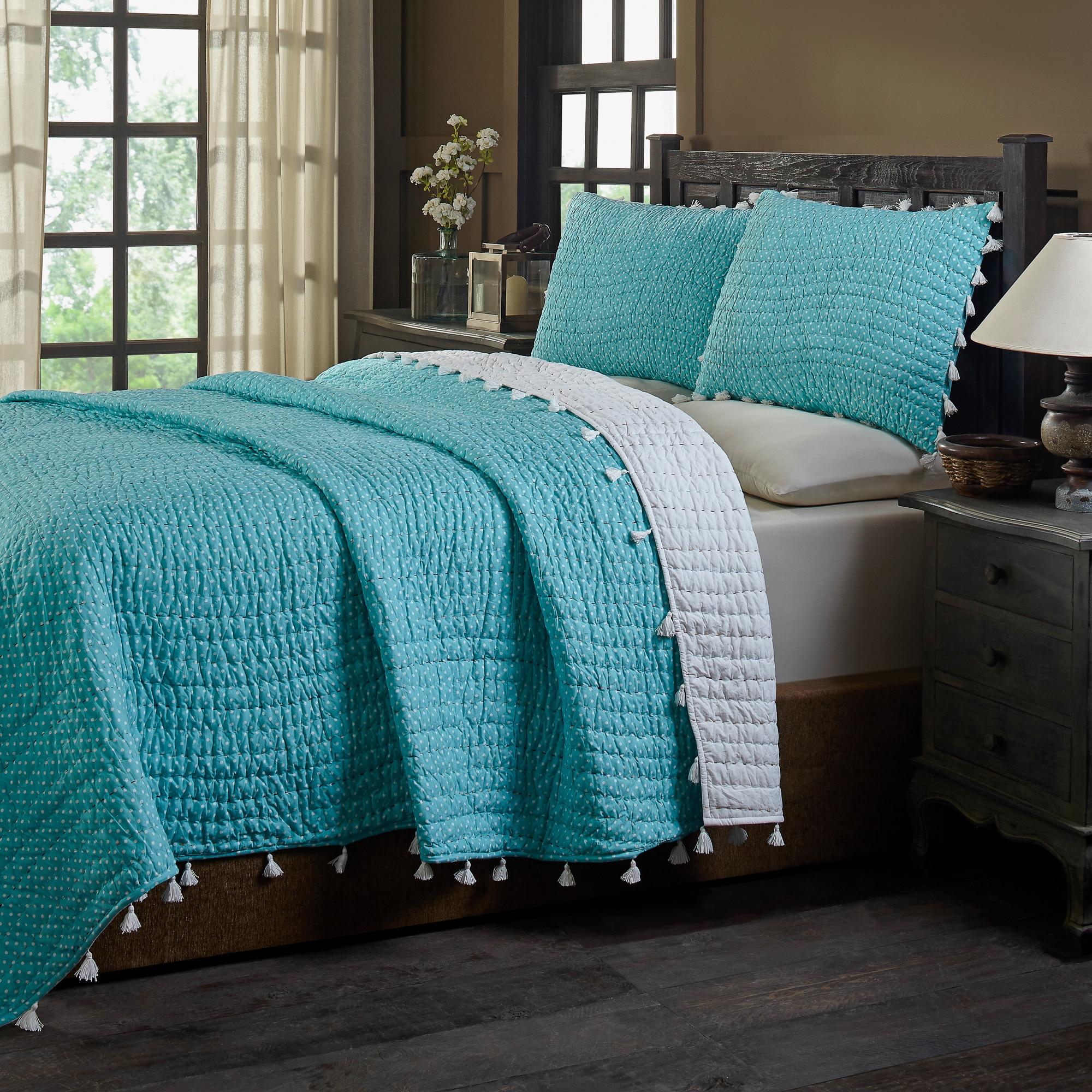Basia Turquoise Polka Dot Tassle Pom Pom Cotton Quilt Set On Sale Overstock 19876159