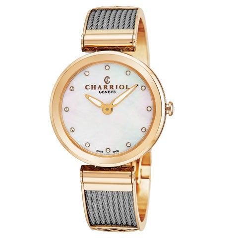 Charriol Women's FE32.102.005 'Forever' Mother of Pearl Diamond Dial Stainless Steel/Rose Goldtone Swiss Quartz Watch