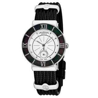 Charriol Women's ST30B.173.006 'St Tropez' Mother of Pearl Dial Black Rubber Strap Swiss Quartz Watch