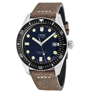 Oris Men's 733 7720 4055 LS 02 'Divers 65' Blue Dial Brown Leather Strap Swiss Automatic Watch