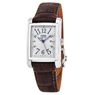 Oris Men's 01 561 7657 4061-07 5 21 70FC 'Rectangular Date' Silver Dial Brown Leather Strap Swiss Automatic Watch