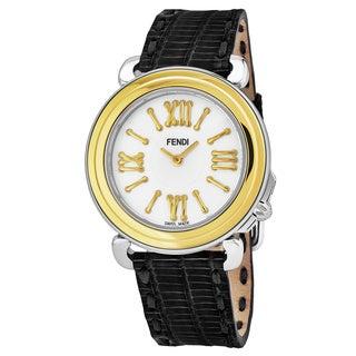 Fendi Women's F8011345H0.TN01 'Selleria' Mother of Pearl Dial Black Leather Strap Two Tone Swiss Quartz Watch