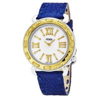 Fendi Women's F8001345H0.SNC3 'Selleria' Mother of Pearl Dial Blue Leather Strap Two Tone Swiss Quartz Watch