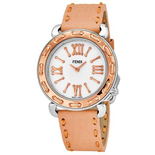 Fendi Women's 'Selleria' Mother of Pearl Dial Coral Pink Leather Strap Two Tone Swiss Quartz Watch