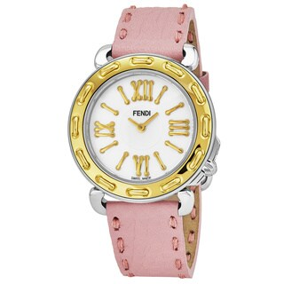 Fendi Women's 'Selleria' Mother of Pearl Dial Pink Leather Strap Two Tone Swiss Quartz Watch