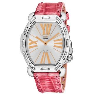 Fendi Women's F84336H.TSN1807 'Selleria' Silver Dial Pink Leather Strap Swiss Quartz Watch
