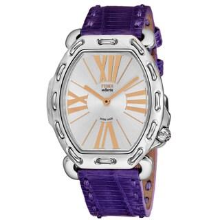 Fendi Women's F84336H.TSN1803 'Selleria' Silver Dial Purple Leather Strap Swiss Quartz Watch