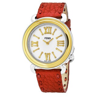 Fendi Women's 'Selleria' Mother of Pearl Dial Red Leather Strap Two Tone Swiss Quartz Watch