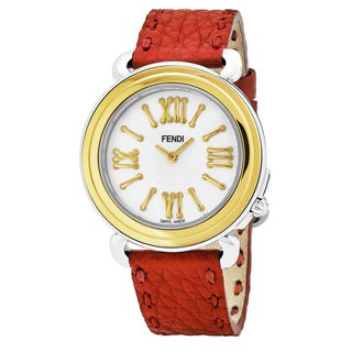 Fendi Women's F8011345H0.SNB7 'Selleria' Mother of Pearl Dial Red Leather Strap Two Tone Swiss Quartz Watch