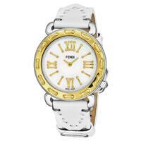 Fendi Women's  'Selleria' Mother of Pearl Dial White Leather Strap Two Tone Swiss Quartz Watch