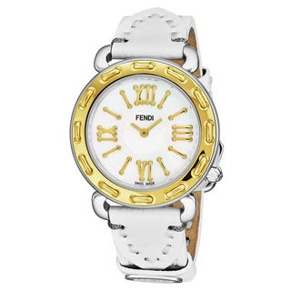 Fendi Women's F8001345H0.PS04 'Selleria' Mother of Pearl Dial White Leather Strap Two Tone Swiss Quartz Watch