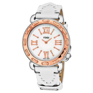 Fendi Women's F8002345H0.PS04 'Selleria' Mother of Pearl Dial White Leather Strap Two Tone Swiss Quartz Watch