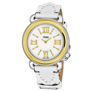 Fendi Women's F8011345H0.PS04 'Selleria' Mother of Pearl Dial White Leather Strap Two Tone Swiss Quartz Watch