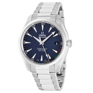 Omega Men's 522.10.42.21.03.001 'AquaTerra Olympic Games Collection' Blue Dial Stainless Limited Edition Swiss Automatic Watch