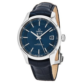 Omega Men's 433.33.41.21.03.001 DeVille Orbit Blue Dial Blue Leather Strap Hour Vision CoAxial Chronometer Swiss Automatic Watch