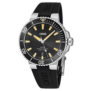 Oris Men's 01 733 7730 4159-07 4 24 64EB 'Aquis Date' Black Dial Black Rubber Strap Swiss Automatic Watch