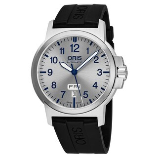 Oris Men's 01 735 7641 4161-07 4 22 05 'BC3 Advanced' Silver Dial Black Rubber Strap Date Day Swiss Automatic Watch