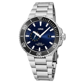 Oris Men's 01 743 7733 4135-07 8 24 05PEB 'Aquis' Blue Dial Stainless Steel Small Seconds Swiss Automatic Watch