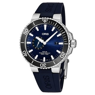 Oris Men's 01 743 7733 4135-07 4 24 65EB 'Aquis' Blue Dial Blue Rubber Strap Small Seconds Swiss Automatic Watch