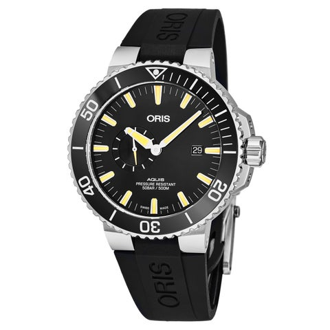 Oris Men's 01 743 7733 4159-07 4 24 64EB 'Aquis' Black Dial Black Rubber Strap Small Seconds Swiss Automatic Watch