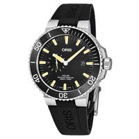 Oris Men's  01 743 7733 4159-07 4 24 64EB 'Aquis' Black Dial Black Rubber Strap Small Seconds Swiss Automatic Watch