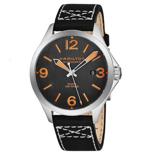 Hamilton Men's H76535731 'Khaki Aviation' Charcoal Dial Black Leather Strap Air Race Swiss Automatic Watch