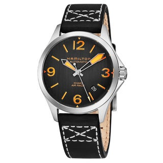 Hamilton Men's H76235731 'Khaki Aviation' Charcoal Dial Black Leather Strap Air Race Swiss Automatic Watch