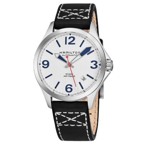 Hamilton Men's 'Khaki Aviation' Silver Dial Black Leather Strap Air Race Swiss Automatic Watch