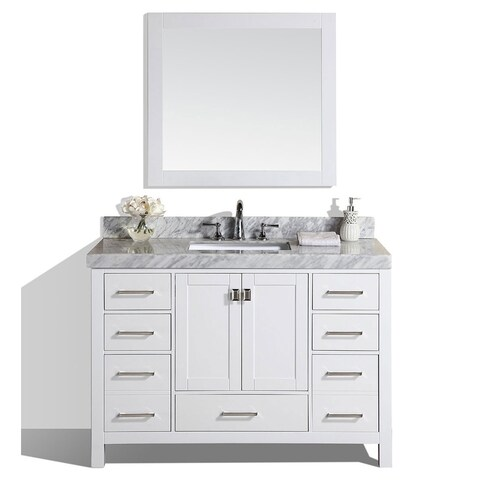 "54"" Malibu White Single Modern Bathroom Vanity with Marble Top"