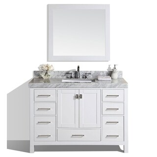 "54"" Malibu White Single Modern Bathroom Vanity with Marble Top"