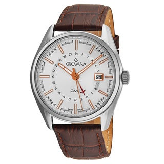 Grovana Men's 1547.1528 'Contemporary' Silver Dial Brown Leather Strap GMT Swiss Quartz Watch