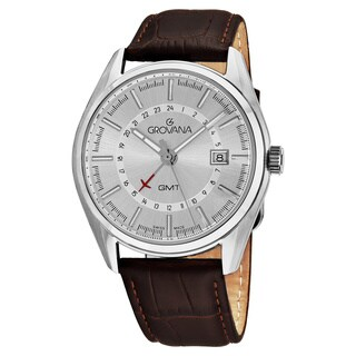 Grovana Men's 1547.1532 'Contemporary' Silver Dial Brown Leather Strap GMT Swiss Quartz Watch