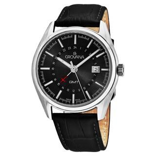Grovana Men's 1547.1537 'Contemporary' Black Dial Black Leather Strap GMT Swiss Quartz Watch