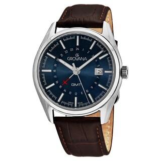 Grovana Men's 1547.1535 'Contemporary' Blue Dial Brown Leather Strap GMT Swiss Quartz Watch