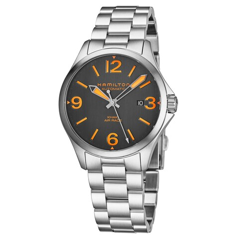 Hamilton Men's 'Khaki Aviation' Charcoal Dial Stainless Steel Air Race Swiss Automatic Watch