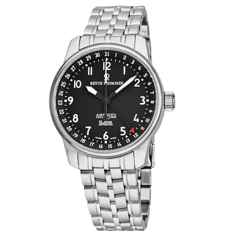 Revue Thommen Men's 16050.2137 'Air Speed' Black Dial Stainless Steel Swiss Automatic Watch