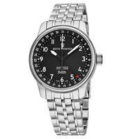 Revue Thommen Men's  'Air Speed' Black Dial Stainless Steel Swiss Automatic Watch