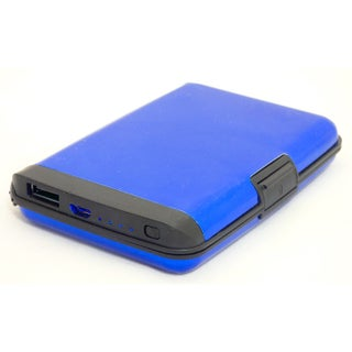 Aluminum RFID Blocking Portable Wallet Charging Power Bank (Option: Blue)
