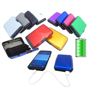 Aluminum RFID Blocking Portable Wallet Charging Power Bank (Option: Green)